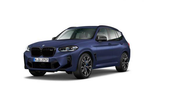 BMW X3 M Competition F97 LCI Facelift 2021 Frozen Marina Bay Blau metallic Dreiviertel-Frontansicht